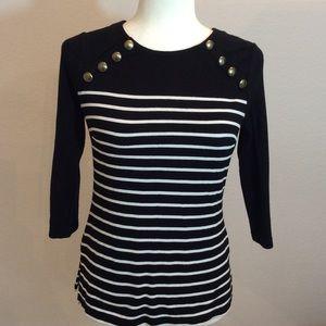 H&M Black & White Striped Top